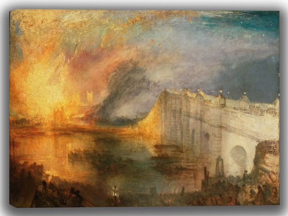Turner, Joseph Mallord William: The Burning of the Houses of Lords and Commons, October 16, 1834. Fine Art Canvas. Sizes: A4/A3/A2/A1 (004122)